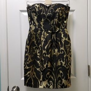 H&M Black Metallic Gold Damask Strapless Dress